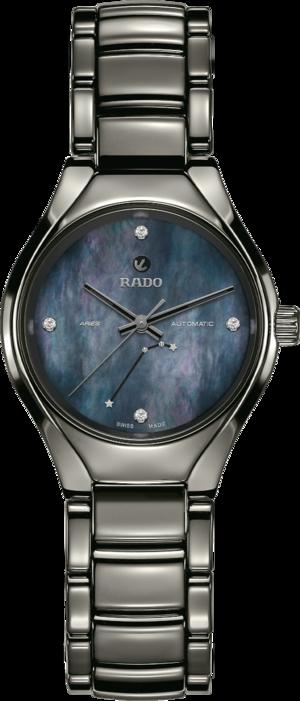 Damenuhr Rado True S Sternzeichen Widder mit Diamanten, blauem Zifferblatt und Plasma-Keramikarmband