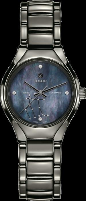 Damenuhr Rado True S Sternzeichen Zwillinge mit Diamanten, blauem Zifferblatt und Plasma-Keramikarmband