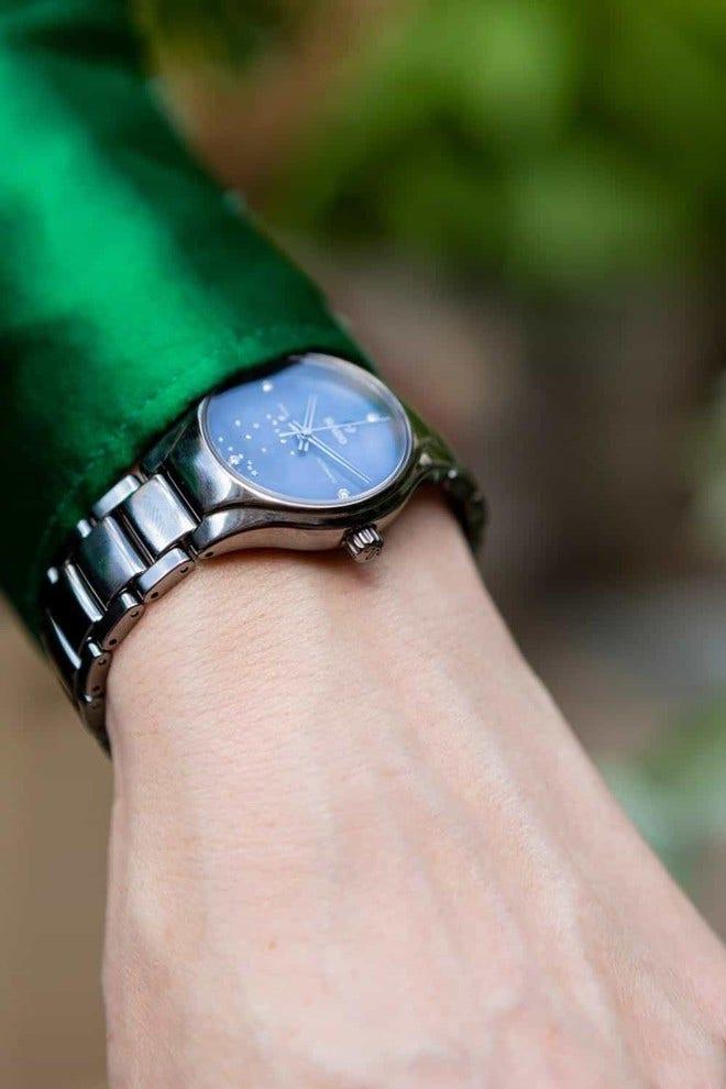 Damenuhr Rado True S Sternzeichen Zwillinge mit Diamanten, blauem Zifferblatt und Plasma-Keramikarmband bei Brogle