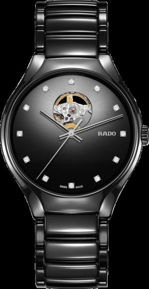 Armbanduhr Rado True Secret Diamonds mit Diamanten, schwarzem Zifferblatt und Keramikarmband