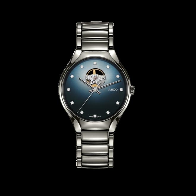 Armbanduhr Rado True Secret Diamonds mit Diamanten, blauem Zifferblatt und Keramikarmband bei Brogle