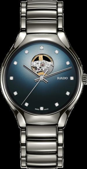Armbanduhr Rado True Secret Diamonds mit Diamanten, blauem Zifferblatt und Keramikarmband