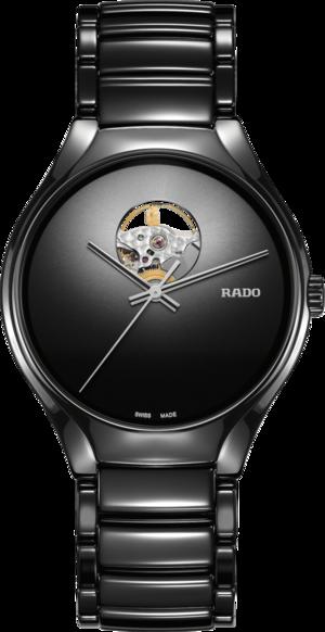Armbanduhr Rado True Secret mit schwarzem Zifferblatt und Keramikarmband