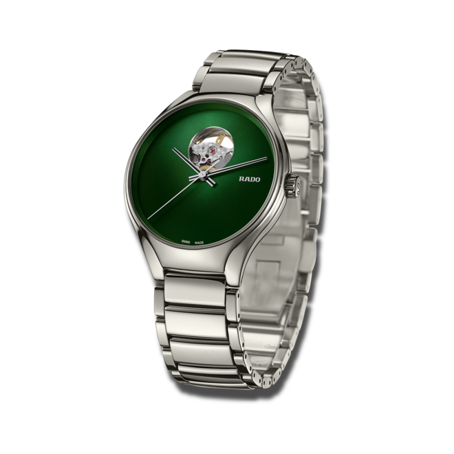 Armbanduhr Rado True Secret mit grünem Zifferblatt und Keramikarmband bei Brogle