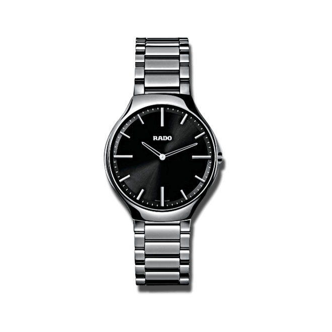 Armbanduhr Rado True Thinline L Quarz mit schwarzem Zifferblatt und Keramikarmband