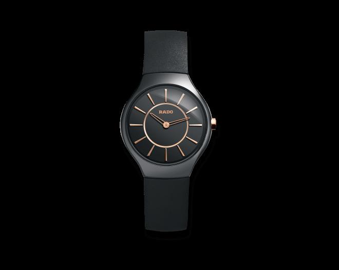Armbanduhr Rado True Thinline S Quartz mit schwarzem Zifferblatt und Kautschukarmband