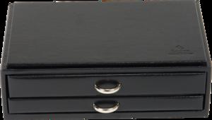 Sacher Schmuckkästchen Vario Schmucksetbox - Schwarz aus Kalbsleder