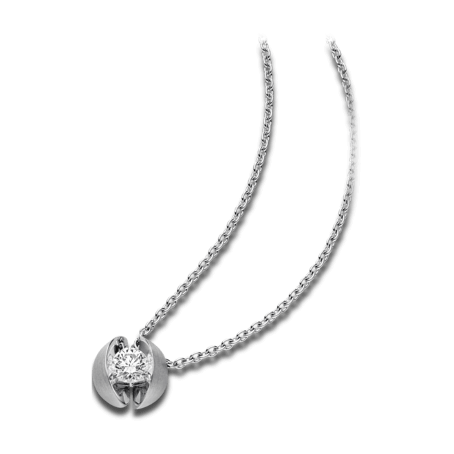 Halskette mit Anhänger Schaffrath Calla aus 750 Weißgold mit 1 Brillant (0,4 Karat)