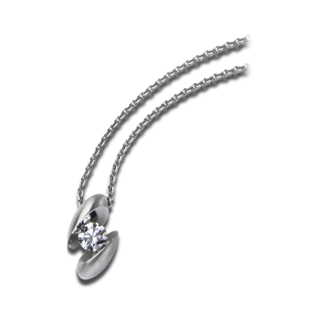 Halskette mit Anhänger Schaffrath Calla aus 750 Weißgold mit 1 Brillant (0,18 Karat)