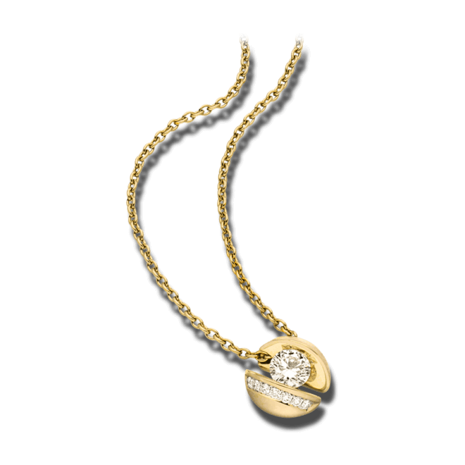 """Halskette mit Anhänger Schaffrath Calla """"Onefold"""" aus 750 Gelbgold mit 8 Brillanten (0,35 Karat)"""