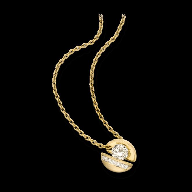 """Halskette mit Anhänger Schaffrath Calla """"Onefold"""" aus 750 Gelbgold mit 8 Brillanten (0,77 Karat)"""