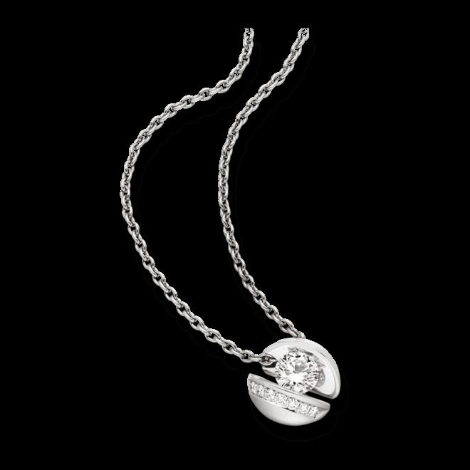 """Halskette mit Anhänger Schaffrath Calla """"Onefold"""" aus 750 Weißgold mit 8 Brillanten (0,45 Karat)"""