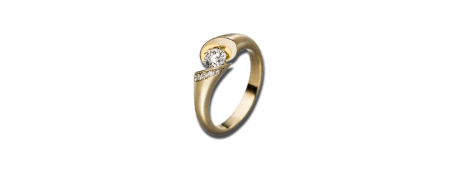 """Spannring Schaffrath Calla """"Onefold"""" aus 750 Gelbgold mit 8 Brillanten (0,3 Karat)"""