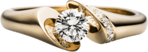 """Spannring Schaffrath Calla """"Onefold"""" aus 750 Gelbgold mit 8 Brillanten (0,32 Karat)"""