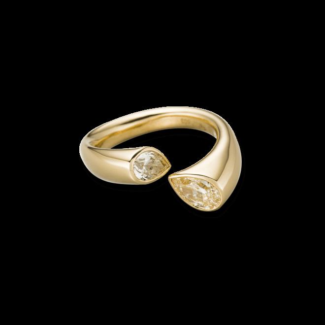 Ring Schaffrath Tropfen aus 750 Gelbgold mit 2 Brillanten (1,2 Karat)