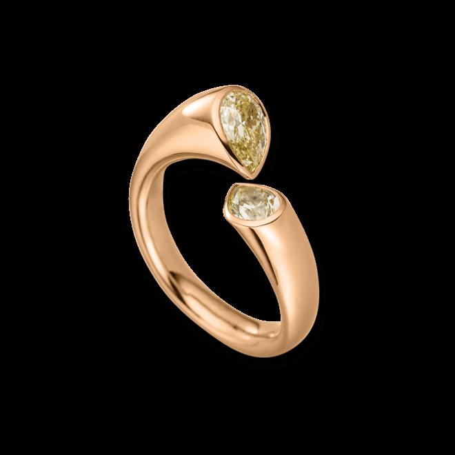 Ring Schaffrath Tropfen aus 750 Roségold mit 2 Brillanten (1,2 Karat)