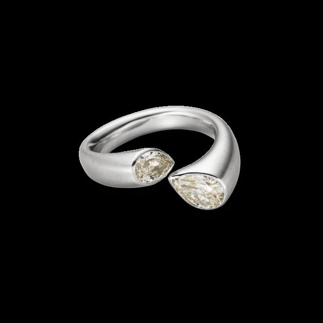 Ring Schaffrath Tropfen aus 750 Weißgold mit 2 Brillanten (1,2 Karat)