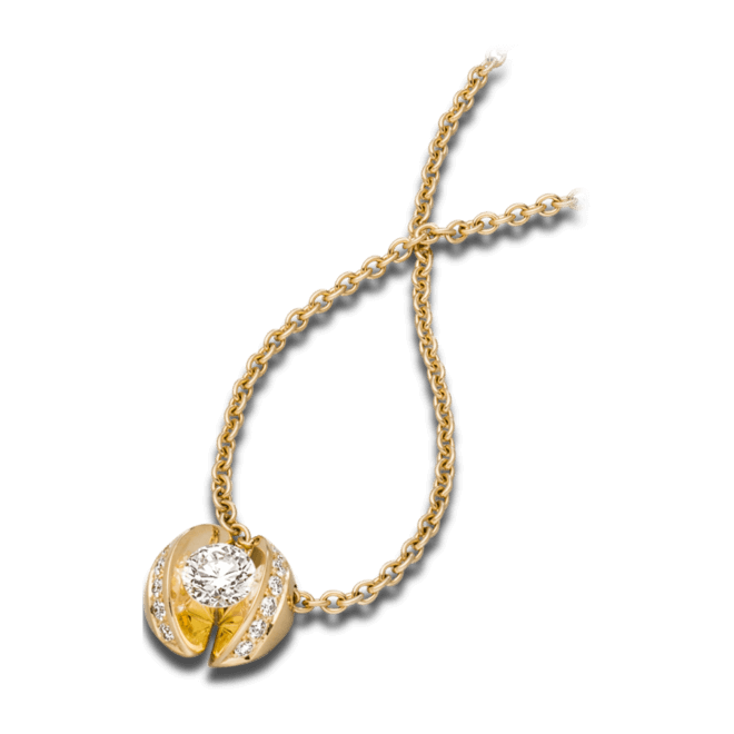 """Halskette mit Anhänger Schaffrath Calla """"Twofold"""" aus 750 Gelbgold mit 15 Brillanten (0,49 Karat)"""