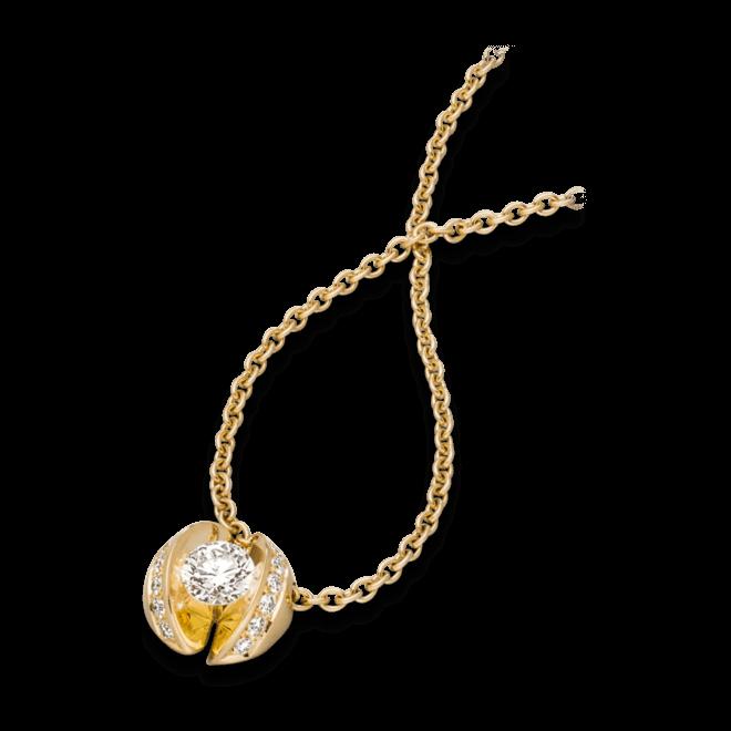 """Halskette mit Anhänger Schaffrath Calla """"Twofold"""" aus 750 Gelbgold mit 15 Brillanten (0,79 Karat)"""