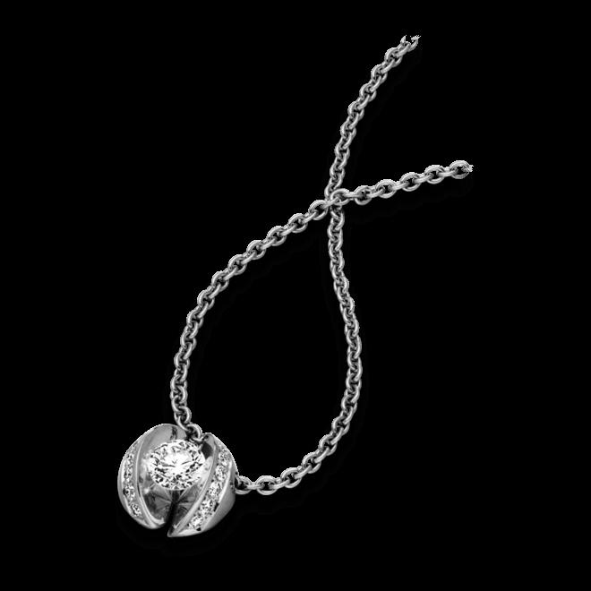 """Halskette mit Anhänger Schaffrath Calla """"Twofold"""" aus 750 Weißgold mit 15 Brillanten (0,28 Karat)"""