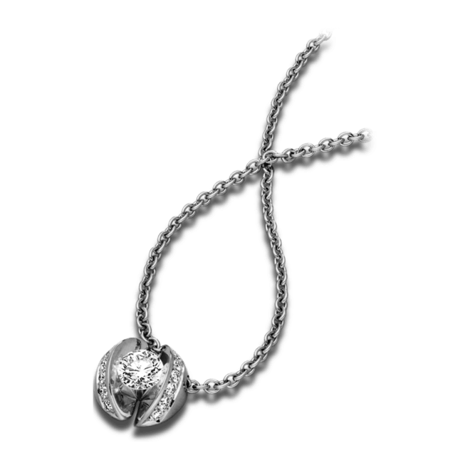 """Halskette mit Anhänger Schaffrath Calla """"Twofold"""" aus 750 Weißgold mit 15 Brillanten (0,34 Karat)"""