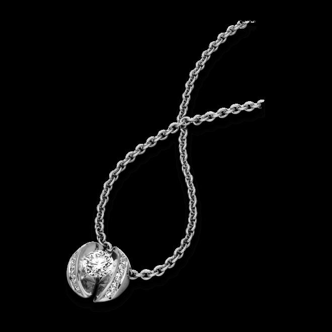 """Halskette mit Anhänger Schaffrath Calla """"Twofold"""" aus 750 Weißgold mit 15 Brillanten (0,35 Karat)"""