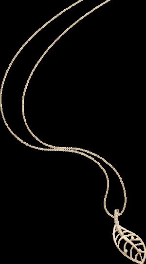 Halskette mit Anhänger Schaffrath Leaf aus 750 Gelbgold mit 12 Brillanten (0,255 Karat)