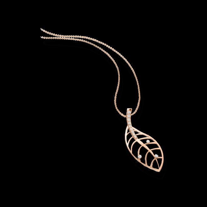 Halskette mit Anhänger Schaffrath Leaf aus 750 Roségold mit 12 Brillanten (0,255 Karat)