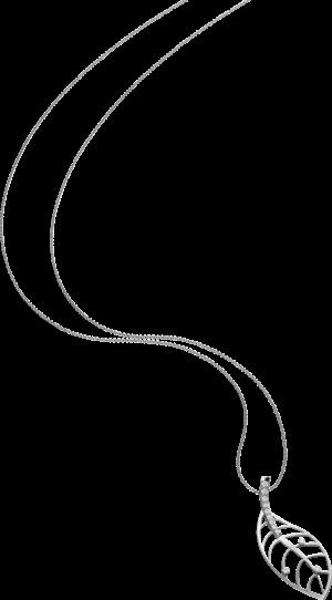 Halskette mit Anhänger Schaffrath Leaf aus 750 Weißgold mit 12 Brillanten (0,255 Karat)