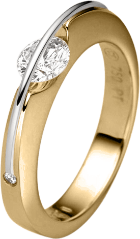 """Ring Schaffrath Liberté """"Der Klassiker"""" aus 750 Gelbgold und 800 Platin mit 3 Brillanten (0,21 Karat)"""