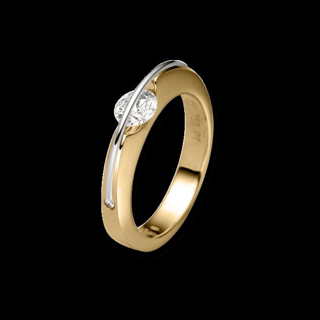 """Ring Schaffrath Liberté """"Der Klassiker"""" aus 750 Gelbgold und 800 Platin mit 3 Brillanten (0,22 Karat)"""