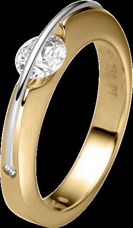 """Ring Schaffrath Liberté """"Der Klassiker"""" aus 750 Gelbgold und 800 Platin mit 3 Brillanten (1,03 Karat)"""