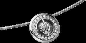 """Halskette mit Anhänger Schaffrath Liberté """"Der Schöne"""" aus 750 Weißgold und 800 Platin mit 21 Brillanten (0,34 Karat)"""