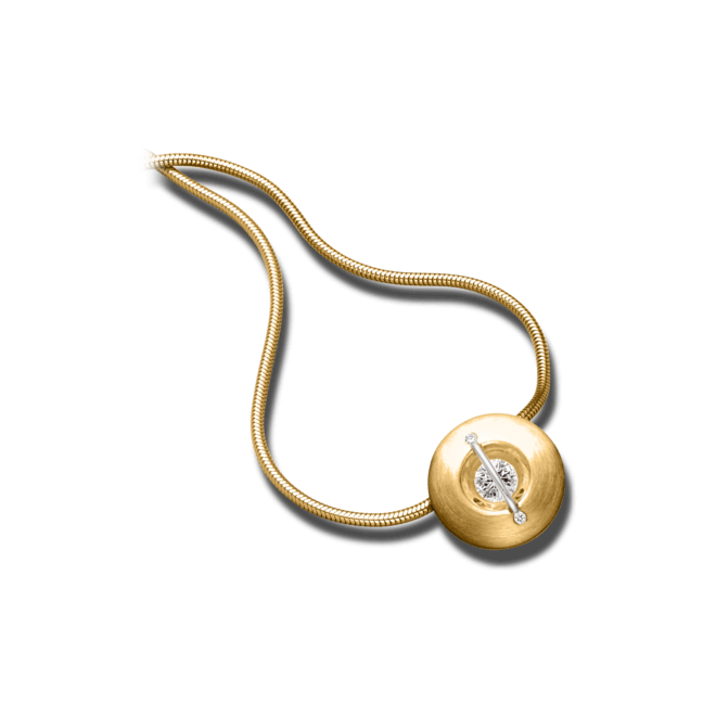 """Halskette mit Anhänger Schaffrath Liberté """"Der Schöne"""" matt aus 750 Gelbgold und 800 Platin mit 3 Brillanten (0,52 Karat)"""