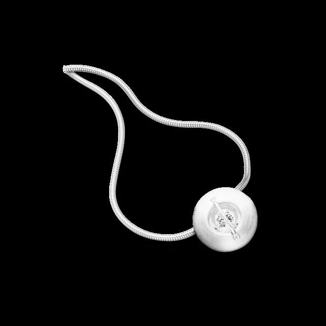 """Halskette mit Anhänger Schaffrath Liberté """"Der Schöne"""" matt aus 750 Weißgold und 800 Platin mit 3 Brillanten (0,32 Karat)"""
