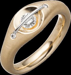 """Ring Schaffrath Liberté """"Der Schöne"""" aus 750 Gelbgold und 800 Platin mit 3 Brillanten (0,28 Karat)"""