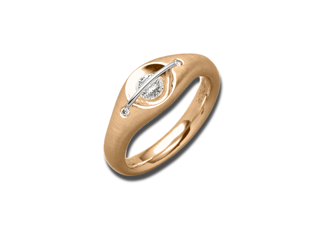 """Ring Schaffrath Liberté """"Der Schöne"""" aus 750 Roségold und 800 Platin mit 3 Brillanten (0,21 Karat)"""