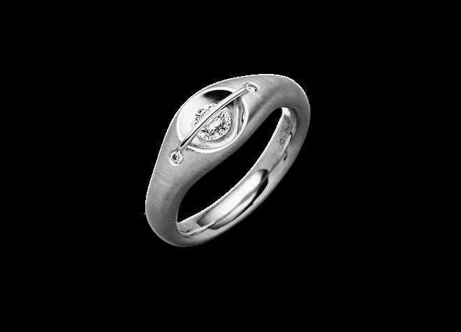 """Ring Schaffrath Liberté """"Der Schöne"""" aus 750 Weißgold und 800 Platin mit 3 Brillanten (0,21 Karat)"""