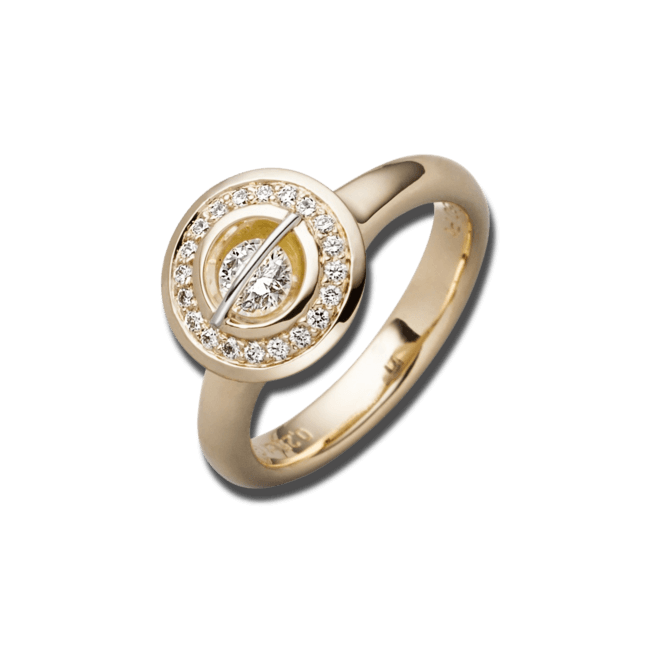"""Ring Schaffrath Liberté """"Der Schöne"""" aus 750 Gelbgold und 800 Platin mit 21 Brillanten (0,55 Karat)"""