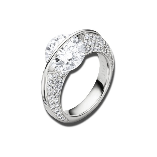 """Ring Schaffrath Liberté """"Die Ikone"""" aus 750 Weißgold und 800 Platin mit mehreren Brillanten (1,15 Karat)"""