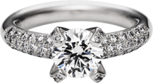 """Solitairering Schaffrath Liberté """"Die Prinzessin"""" aus 750 Weißgold mit mehreren Diamanten (0,74 Karat)"""