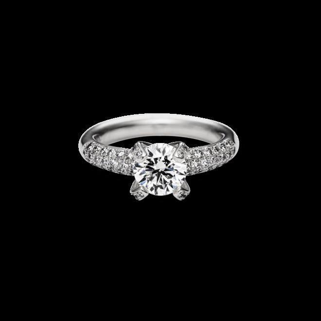 """Solitairering Schaffrath Liberté """"Die Prinzessin"""" aus 750 Weißgold mit 49 Diamanten (1,4 Karat)"""
