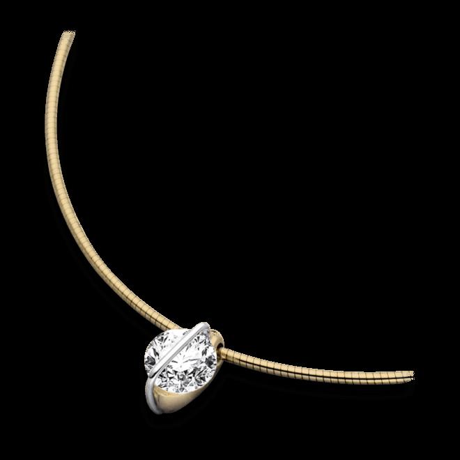 Halskette mit Anhänger Schaffrath Liberté aus 750 Gelbgold und 800 Platin mit 2 Brillanten (1,01 Karat)