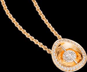 Halskette mit Anhänger Schaffrath Liberté aus 750 Gelbgold und 800 Platin mit mehreren Brillanten (0,69 Karat)