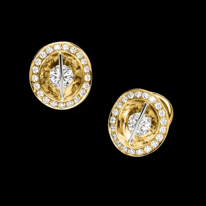 Ohrstecker Schaffrath Liberté aus 750 Gelbgold und 800 Platin mit mehreren Brillanten (2 x 0,465 Karat)