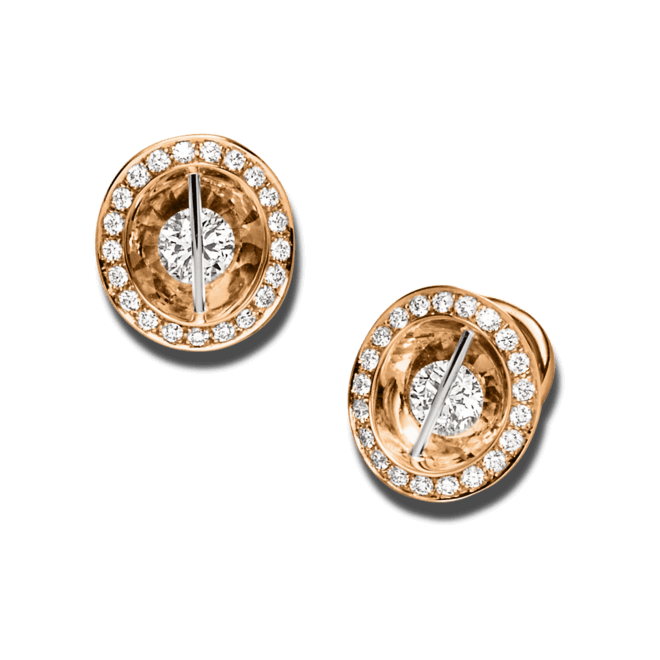Ohrstecker Schaffrath Liberté aus 750 Roségold und 800 Platin mit mehreren Brillanten (2 x 0,465 Karat)