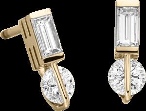Ohrstecker Schaffrath Liberté aus 750 Gelbgold und 800 Platin mit 4 Diamanten (2 x 0,257 Karat)