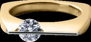 Ring Schaffrath Liberté aus 750 Gelbgold und 800 Platin mit 3 Brillanten (0,53 Karat)