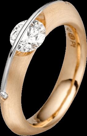 Ring Schaffrath Liberté aus 750 Gelbgold und 800 Platin mit 3 Brillanten (0,32 Karat)