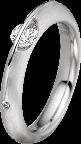 Ring Schaffrath Liberté aus 750 Weißgold und 800 Platin mit 3 Brillanten (0,32 Karat)